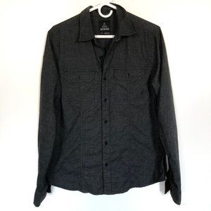 prAna Black Button-Down Shirt Size Small